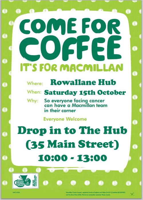 Macmillan Coffee Morning in Rowallane Community Hub - Saturday 15th October